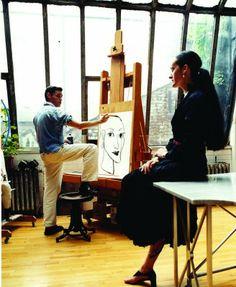 Ruben Toledo drawing his wife, Isabel