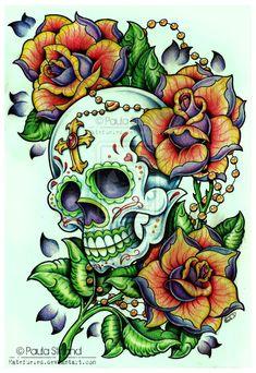 Flower skull for the day of The death Or one Beautiful tattoo. Tattoo Drawings, Body Art Tattoos, Cool Tattoos, Heart Tattoos, Sleeve Tattoos, Caveira Mexicana Tattoo, Los Muertos Tattoo, Sugar Skull Artwork, Catrina Tattoo