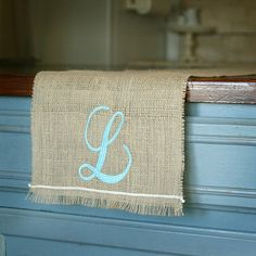 burlap runner--monogram christmas or halloween images