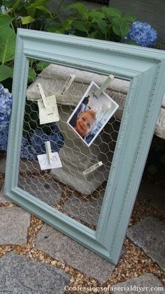 DIY: Message Board & Clips - a yard sale frame gets painted & has chicken wire attached to it + clothespins get covered with paper.