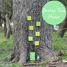 Make Your Own Gnome Tree House - I used paint and card stock to embellish simple wood shapes.  The Outdoor Formula of Mod Podge seals the paper and makes the project water proof.