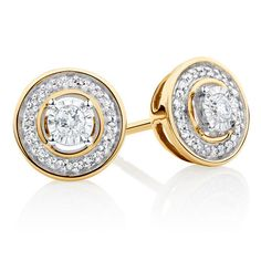 A must have for any woman's jewellery box, these 10ct yellow gold stud earrings each feature a round brilliant diamond set in sterling silver, and...