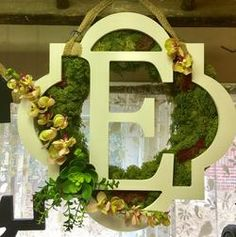 White Monogram Moss Wreath w/Artificial Orchids and Succulents