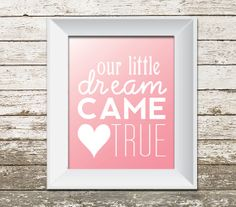 """""""Our little dream came true"""" INSTANT DOWNLOAD - Printable Baby Girl Nursery Wall Art - Pink - Digital File"""