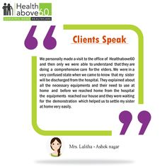 We constantly strive to exceed our customer's expectations. #Healthabove60 #Patienttestimonial
