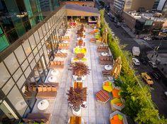 Bird's-eye view of the terrace at YOTEL!  #YOTEL #NYC #BirdsEyeView #Aerial
