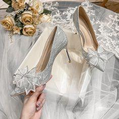 High Heel Pumps, Stilettos, Stiletto Heels, Wedding Pumps, Wedding Bows, Silver Outfits, Espadrilles, Silver Rhinestone, Bridal Shoes