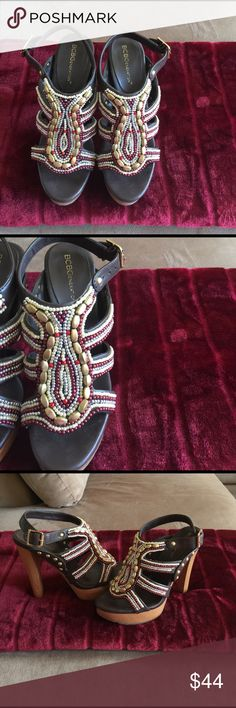 """🌼SPRING BCBGeneration Heeled Sandals Dark Cocoa with gold, burgundy, red and silver delicately designed beading on the top of the shoe. Heel measures 5"""" with 1"""" platform. EUC condition. Loads of compliments, certain to standout in a crowd. BCBG Shoes Heels"""