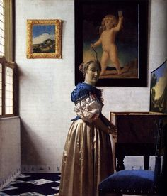 Johannes Vermeer「ヴァージナルの前に立つ女」(1673ー75)www.showcasebot.com