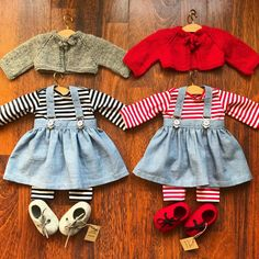 "Another wonderful collaboration!  Marianne @roodrose made these T-shirts, leggings and chambray suspender skirts, for my little doll ""boutique"" Completed with alpaca cardigans from @jacquelinestinytots and wool felt shoes from @byvaidapetreikis #welldresseddolls #monpilou #waldorfdoll #waldorfdolls #dollclothes #dollboutique #dollshoes #dolloutfit"