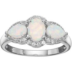 Sterling Silver Lab-Created White Opal & White Topaz 3-Stone Halo Ring ($83) ❤ liked on Polyvore featuring jewelry, rings, white, sterling silver opal ring, opal jewelry, sterling silver oval ring, round ring and white topaz rings