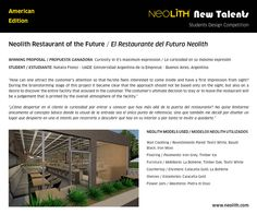 """Congratulations to Natalia Florez from Buenos Aires (Argentina)! Its """"Neolith Restaurant of the Future"""" is the winner proposal of the Students Competition - American Edition!"""
