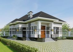 Modern three-bedroom single-storey house - Ulric Home Beautiful House Plans, Beautiful Homes, House Designs In Kenya, One Storey House, My House Plans, Bungalow House Design, Hip Roof, Home Fashion, Building A House
