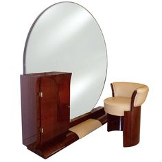 Art Deco Coiffeuse with Tabouret by Jean Pascaud | From a unique collection of antique and modern vanities at https://www.1stdibs.com/furniture/tables/vanities/