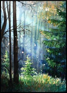 Watercolor Scenery, Watercolor Landscape Paintings, Landscape Art, Watercolor Paintings, Forest Landscape, Watercolors, Scenery Paintings, Forest Painting, Tree Art