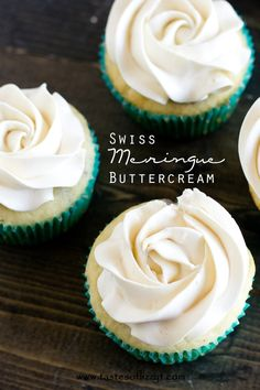 Swiss Meringue Buttercream Recipe - Tastes of Lizzy T. If super sweet frosting isn't for you, you'll love this smooth, creamy Swiss Meringue Buttercream. It's lightly sweetened which makes it a perfect topping for just about any cake. It also holds its shape and is ideal for piping.