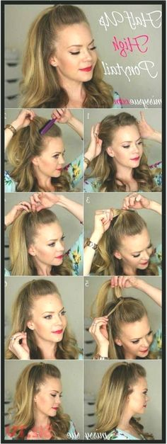 Amazing Half Up-Half Down Hairstyles For Long Hair Half Up High Ponytail Easy St… Down Hairstyles For Long Hair, Wedding Hairstyles Half Up Half Down, Half Up Half Down Hair, Hairstyles For School, Prom Hairstyles, Ponytail Easy, Simple Ponytails, High Ponytails, Long Hair Wedding Styles