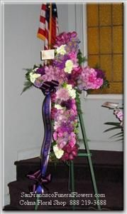 Cross Lavendar & White Flowers Funeral Flowers, Sympathy Flowers, Funeral Flower Arrangements from San Francisco Funeral Flowers.com Search for chinese funeral, sympathy funeral flower arrangements from our SanFranciscoFuneralFlowers.com website. Our funeral and sympathy arrangements include crosses, casket covers, hearts, wreaths on wood easels, coronas fúnebres, arreglos fúnebres, cruces para velorio, coronas para difunto, arreglos fúnebres, Florerias, Floreria, arreglos florales, corona…