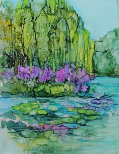 Has a $15 ebook teaching her methods for creating with alcohol inks