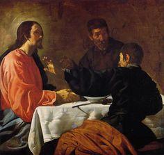 'Abendmahl in Emmaus', öl auf leinwand von Diego Velazquez (1599-1660, Spain)