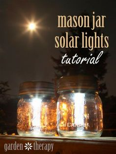 How to make cool mason jar solar lights step by step DIY tutorial instructions thumb