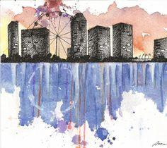 Ferris Wheel. Original watercolor painting. by AnnasArtHaven
