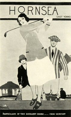 1920s Travel Poster for Hornsea, Yorkshire, England. Golfing gal.