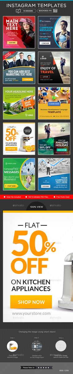 Instagram Banner Templates - 10 Designs - Miscellaneous Social Media