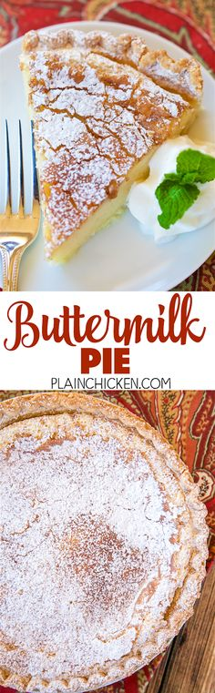 Buttermilk Pie - so simple, yet so AMAZING! Perfect ending to your holiday meal! Can make ahead of time and refrigerate until ready to serve. Buttermilk Pie, Buttermilk Recipes, Just Desserts, Delicious Desserts, Yummy Food, Pie Dessert, Eat Dessert First, Brownies, Holiday Recipes