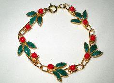 Holly Berry Link Bracelet Vintage Christmas Gold by VampsVintage, $15.00