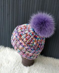 04636f289cb4f Pompom Beanie Chunky Hat Colorful Beanie Cashmere Hat Wool Bulky Knitted Hat  Slouchy Knit Hat Real