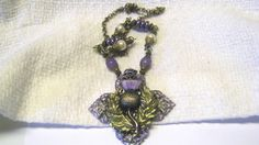 Brass Scottish Thistle Necklace in Aged by VermontJewelryShop