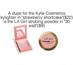 Dupe for kylighter in Strawberry Shortcake Drugstore Makeup Dupes, Beauty Dupes, Makeup Swatches, Beauty Tricks, Makeup Is Life, Makeup Set, Makeup Tips, Makeup Hacks, Makeup Storage