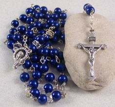 Catholic Rosaries for Women | Handmade Catholic rosary with navy blue glass by LeapingWithFaith