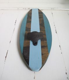 groomsmen gift- Turquoise and Blue Surboard Wall Mount Bottle Opener. $34.95, via Etsy.