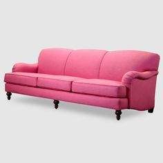 Pink tight back English roll arm sofa. Our Basel sofa is benchmade in America to your specifications. Any size, any color, shipped anywhere!