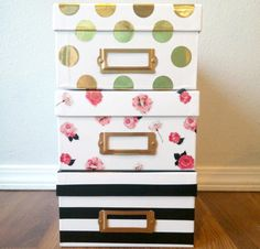 Kate Spade Inspired Storage Boxes would make a great DIY mother's day gift!