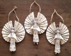 Clothespin Angels - Handmade Ornaments made with Vintage Sheet Music - Set of 3 from smilemercantile on Etsy Sheet Music Ornaments, Sheet Music Crafts, Angel Crafts, Book Crafts, Holiday Crafts, Handmade Angels, Handmade Ornaments, Vintage Sheet Music, Vintage Sheets