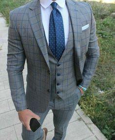 men suits business -- Click VISIT link to read Best Suits For Men, Cool Suits, Mens Fashion Suits, Mens Suits, Stylish Men, Men Casual, Blue Suit Men, Light Grey Suit Men, Suit Combinations
