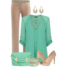A fashion look from May 2014 featuring polyester shirt, flared pants and jessica simpson shoes. Browse and shop related looks. Cute Office Outfits, Cute Outfits, Teacher Outfits, Business Outfits, Business Fashion, Look Office, Interview Attire, Dressy Pants, Professional Wardrobe