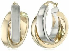 Duragold 14k Yellow, White, or Two-Tone Gold Satin and Polished Crossover Hoop Earrings