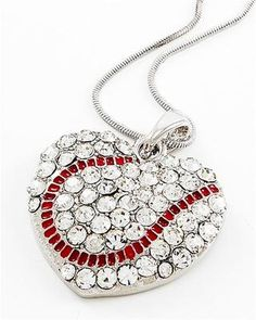 Baseball Heart Necklace Clear Crystals Red Stitching BY Silver Tone Team Sports. $19.88