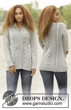 """Free Pattern  Arrowhead by DROPS Design Knitted DROPS jacket with cables and shawl collar in """"Alaska"""". Size: S - XXXL."""