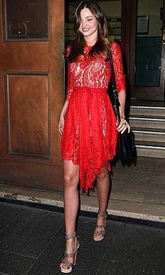 # Miranda Kerr in Lover Serpent Lace Dress