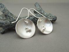 Satellite Dish Triple Sphere Domed Sterling Silver Drop Earrings
