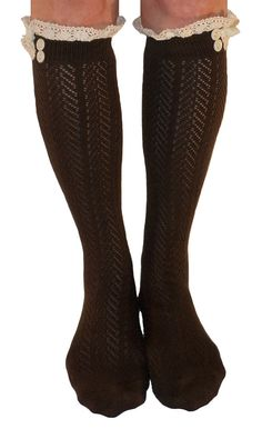 Womens Dark Brown Button Boot Socks With Lace Trim, Crochet Lace Button Boot Socks, gift  Button Crochet Lace Chevron Pattern Open Knit Boot Socks