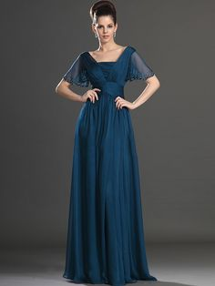 Azul Navy Trapézio/Princesa Quadrado Manga Curta Folhos Até ao chão De chiffon Vestidos Mãe da Noiva for 663,65€