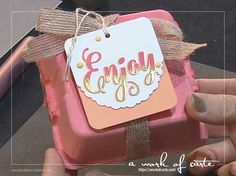 2017 Stampin Up Occasions Sneak Peek: Mini Egg Carton gift box with a cute gift tag that features shadow stamping and heat embossing! Sentiment from the Everyday Tags stamp set. Stampin Up Ostern, Egg Crates, Mini Eggs, Card Making Inspiration, Catalogue, Gift Packaging, Homemade Gifts, Stampin Up Cards, Gift Tags