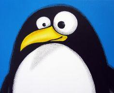 fAT pENGUiN - 12 x 16 original acrylic painting on canvas