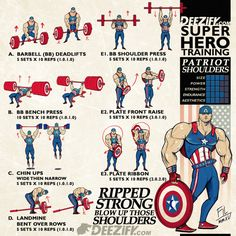 Superhero workout, get ripped strong boulder shoulders